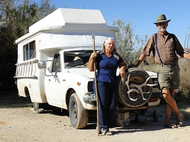 Ruth Davis, shown here with Gary, is another electrosenstive who has been healed by the land and is part of the Land Steward Program. This Toyota Chinook is her home on wheels. Read Ruth's story here: http://www.onaravenswing.com
