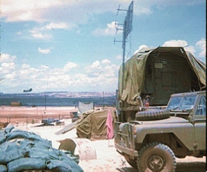 So potent was the RF radiation near the bed-frame antenna system of the TRC-24 that it was possible to boil water in front of it. Shown here, the antenna is mounted on a mast beside the shelter while on operations north of Saigon, 1969.
