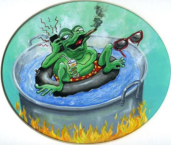 Boil the Frog Slowly radio show, Logo 1, © Mardel Sanzotta
