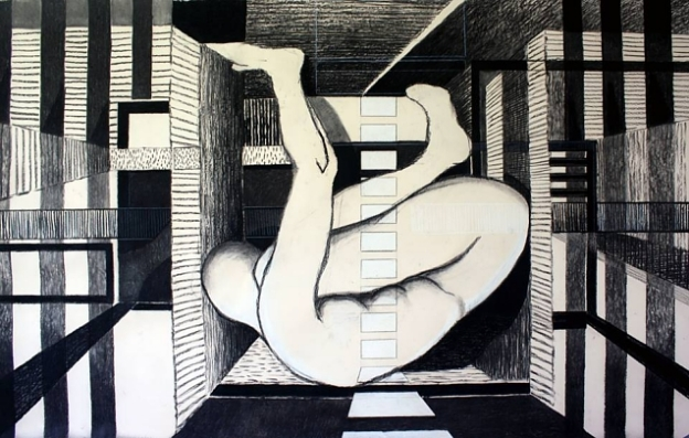 drawing on beige paper 125x215 cm, © Tom van Campenhout