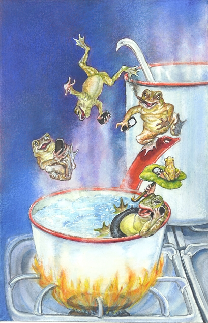 Boil the Frog Slowly radio show - Logo 2, © Mardel Sanzotta)