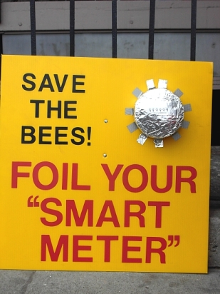 Save the Bees, Foil your Smart Meter (photo © Kim Goldberg)